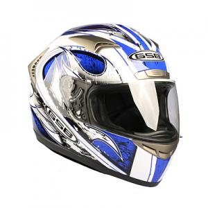 Шлем для мотоцикла G-335 MOBILITA AZZURRO (white blue flame)